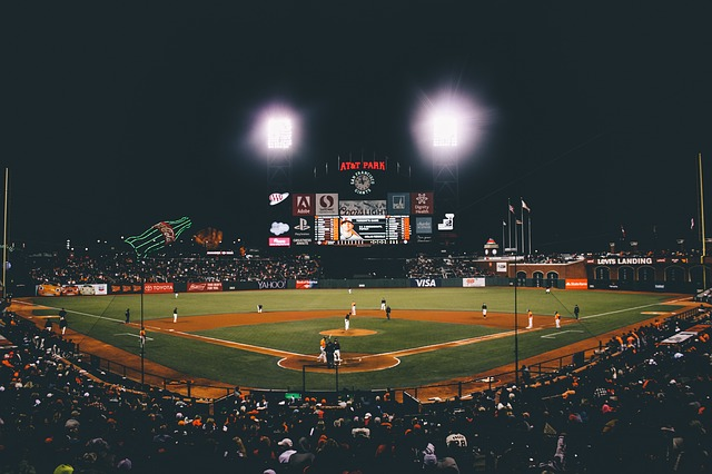 baseball stadium - LED scoreboard screen as seen from stands