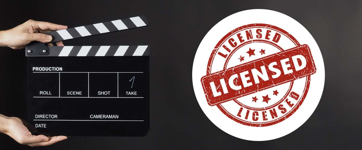 graphic illustrating movie licensing, with a clapperboard on the left and licensed badge on the right