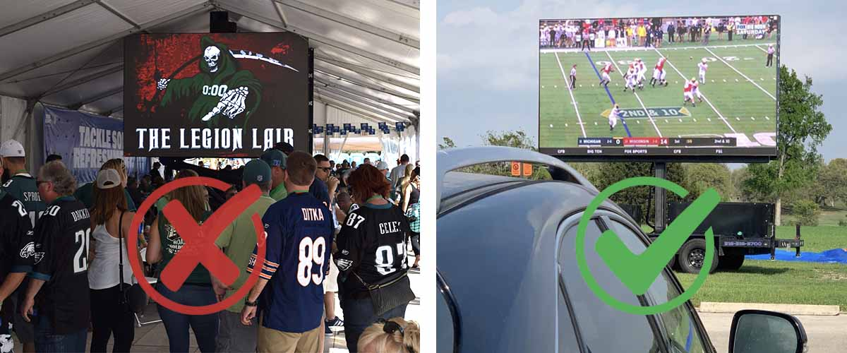 tailgate graphic illustrating a large crowd of people on the left with a red x through it and a social distancing drive in tailgate on the right with a green check mark over it