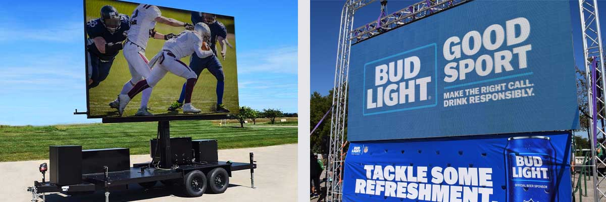 2 image collage. A mobile LED screen rental is on the left. The portable display is in a parking lot and displaying football on the screen. The modular screen on the right is at a tailgate and displaying bud light advertising with print signage hung from the bottom of the screen.